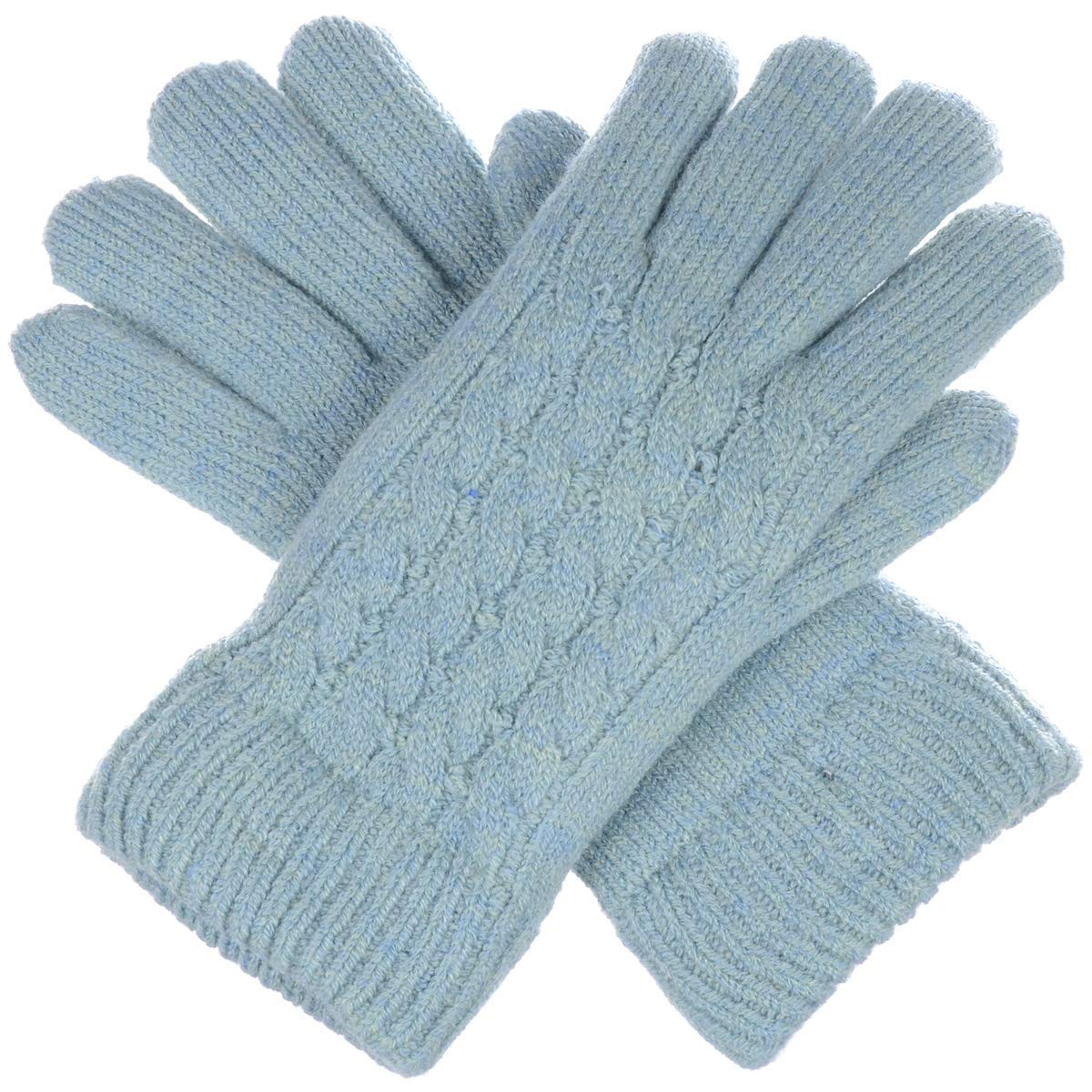 BYOS Women Winter Classic Cable Ultra Warm Soft Plush Faux Fur Fleece Lined Knit Gloves (Pastel Blue Cable)