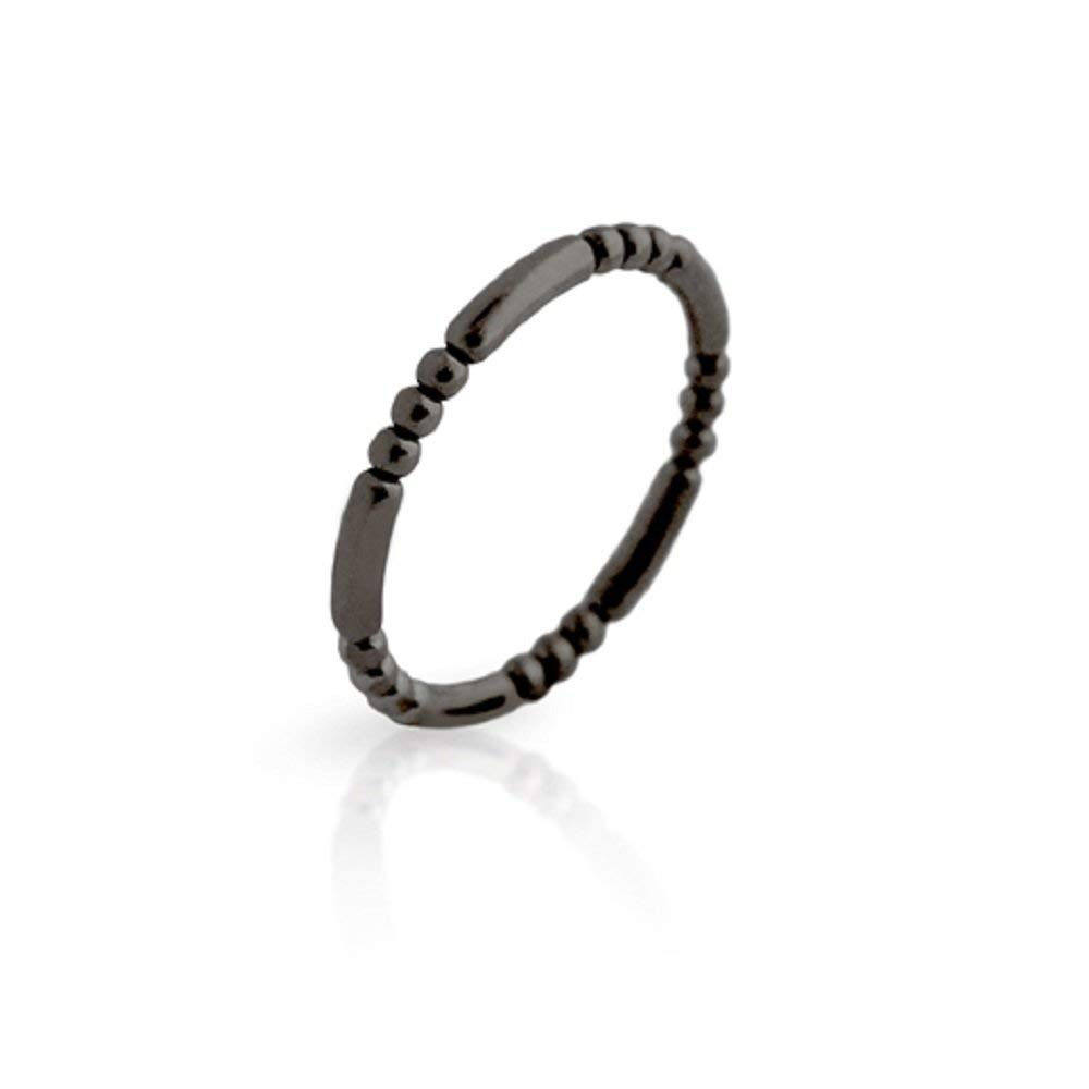Black Rhodium Plated Bead And Bar Style Band Sterling Silver 925 Ring