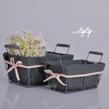 Hot Sell 3pcs Rectangular Wire Baskets woven baskets wholesale
