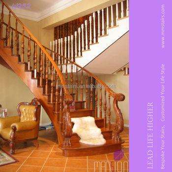 Lujo Tallado Madera Escalera Interior Diseño - Buy Interior Escalera ...