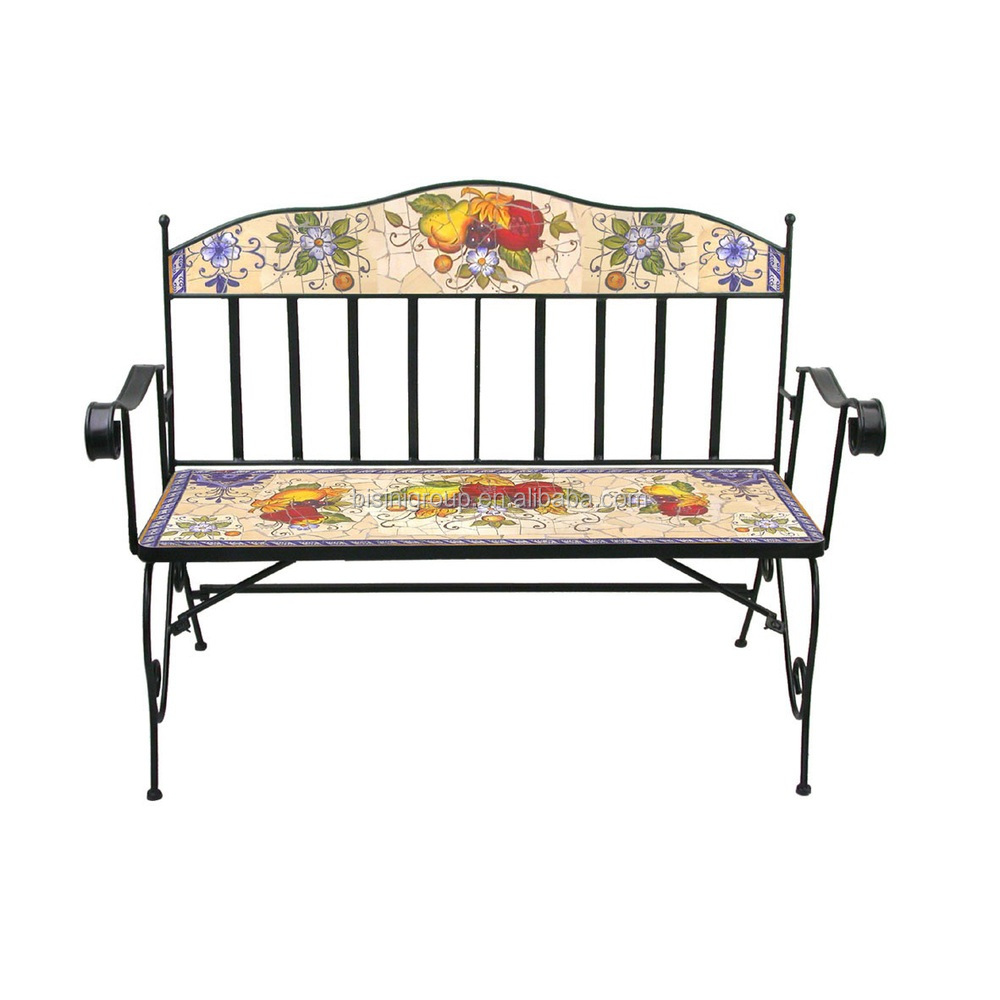 Floral U0026 Vegetable Painted Dining Chair,wrought Iron Folding Chair, Decorative Cast Iron Chairs