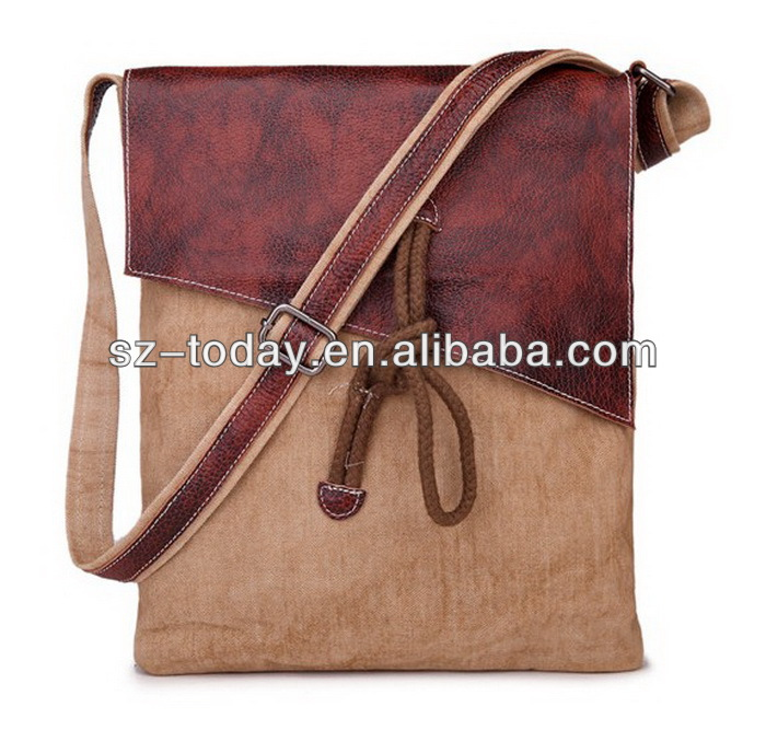 Leather stitching retro style casual canvas custom genuine leather handbag