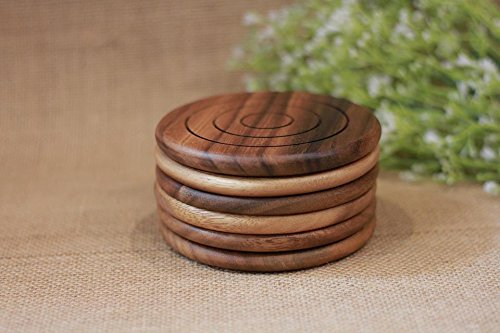 Wholesale Round Coffee 6 Holders Laser Cut Acacia Wood Coaster Set