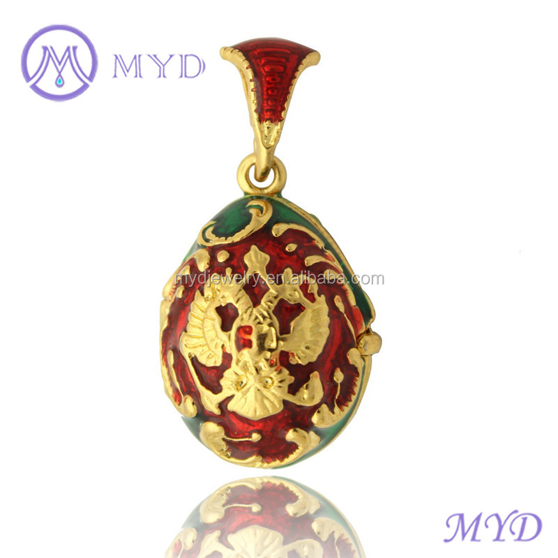 Color Enamel Russian Coat of Arms Faberge Egg Pendant Locket Necklace