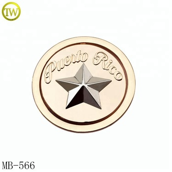 Round embossed star logo label handbag wallet metal name plate