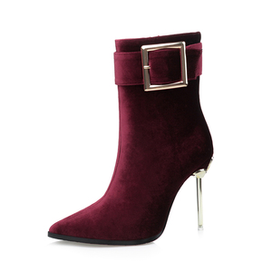 fashion ladies shoes direct from the factory china brown brand name leather women buckle boots