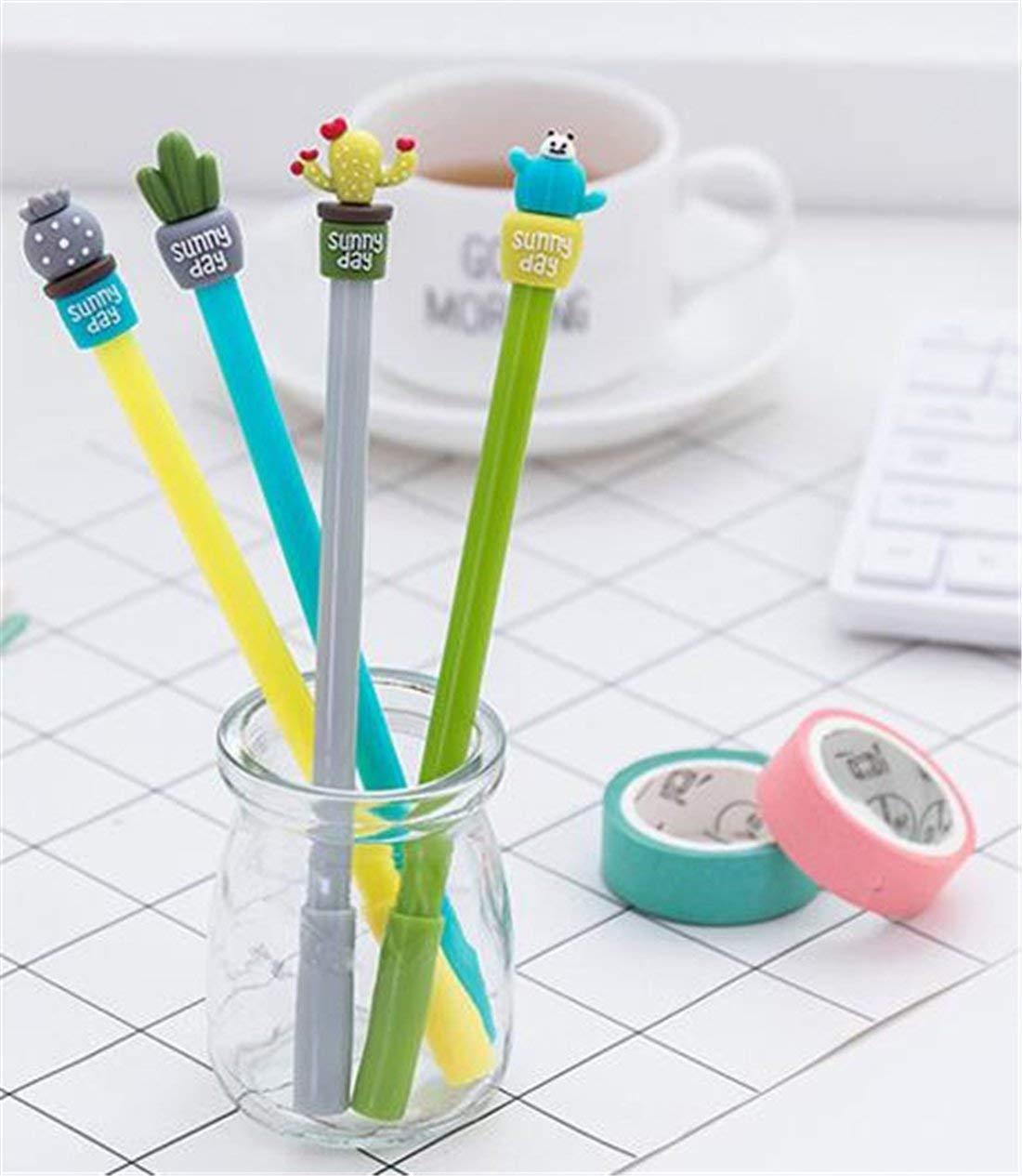 Heyuni.4Pcs/Set Creative Gel Pen,Cute Style Cactus Rollerball Pen for Office School Stationery Supplies