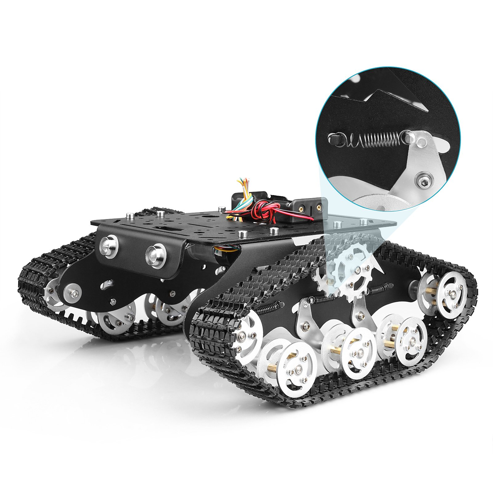 Tracked Robot Smart Car Platform with Damping Effect System Metal Tank Chassis with Powerful Dual DC 9V Motor for Arduino Raspberry Pi DIY Kit STEM Education, Easy Assembly (11.09.84.5inch, 3.28lb)
