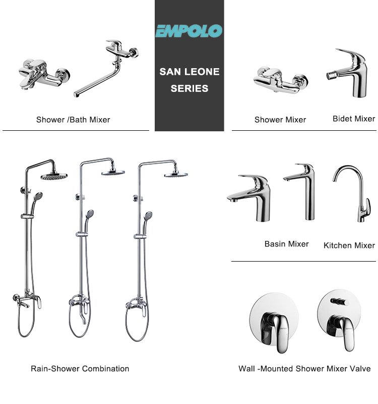 Bathroom wall mounted stainless steel bath shower mixer faucet