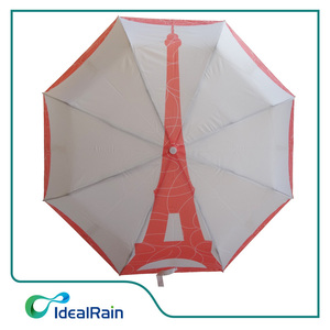 Effel Tower offset print manual open small pocket folding umbrella