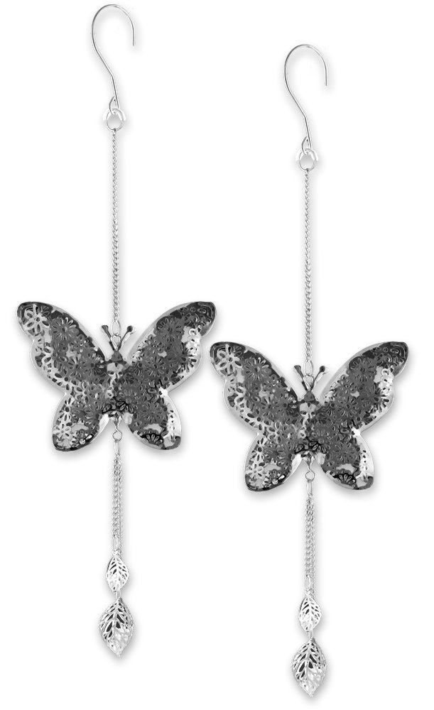 BANBERRY DESIGNS Hanging Butterfly Set - Set of 2 Butterflies with a Filigree Flower Design - Butterfly Decorations - 14 Inch Long