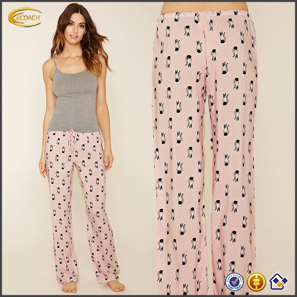 Ecoach Wholesale OEM Good Quality Women Elasticized Drawstring Waist Allover Print PJ Pants 100% rayon Lounge pants