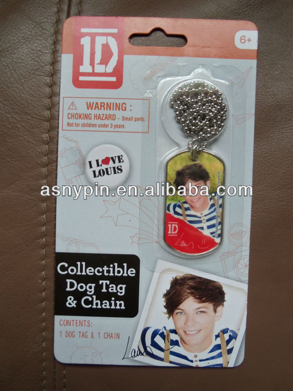 1D One Direction Collectible Dog Tag Necklace Chain NEW In Package Love Louis.