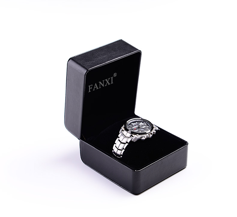 FANXI Custom Logo Black Leather Packing Boxes With Velvet Pillow Cushion For Bangle Bracelet Jewelry Men Watch Packaging Box