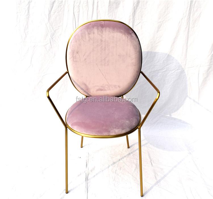 Modern Restaurant Chairs Pink Velvet Stainless Steel Stay Gold