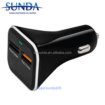 Portable Dual Port Car Charger Quick Charge 3.0 car charger For LG Samsung Galaxy