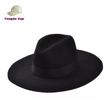 301119770239e Vintage Retro venta al por mayor clásico lana siento negro sombreros de las  mujeres de ala