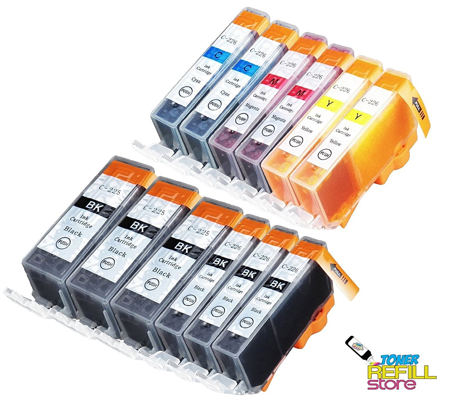 Toner Refill Store 12 Pack Compatible Canon PGI-225 / CLI-226 (3 Big Black, 3 Small Black, 2C, 2M, 2Y). Page Yield: 350 pages at 5% coverage for PGI-225BK and 510 pages at 5% coverage for CLI-225 colors. Works in the following printer models: PIXMA iP4820, PIXMA iP4920, PIXMA iX6520, PIXMA MG5120,
