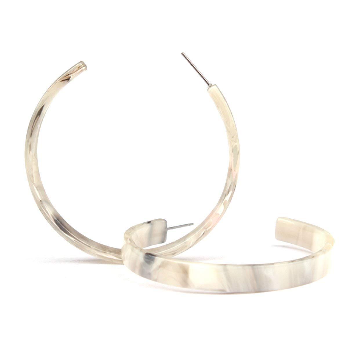 Light Tortoise Shell Hoop | Tortoise Shell Earring | Blonde Tortoiseshell Large | Hoop Earring | Acrylic Hoop Earrings | Everyday