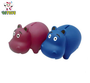 Hippo Animal Collecting Money Rubber Piggy Bank for Kids
