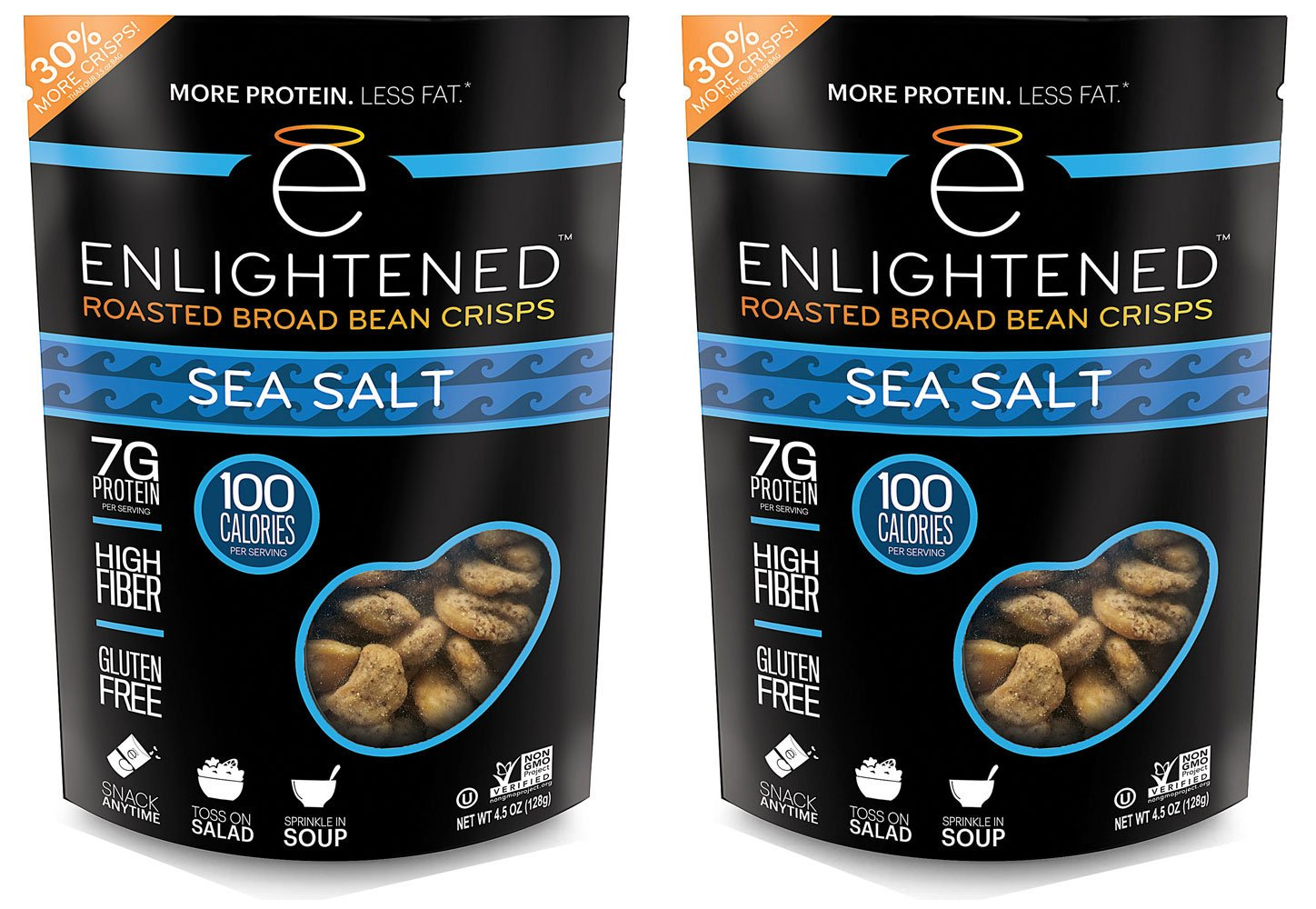 Enlightened - The Good-For-You Crisp, Roasted Broad Beans, Sea Salt, 4.5 Ounce (2-pack)