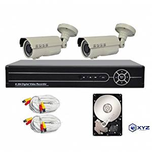 XYZ 4 Channel 1080P AHD Digital Video Recorder and 2 Professional 1080P Varifocal Weatherproof Cameras with pre-installed 1TB HDD