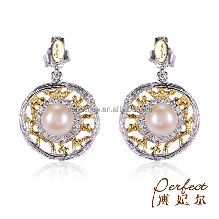 Fashion Freshwater Pearl 925 Sterling Silver Round Dangle Earring with White Zircon
