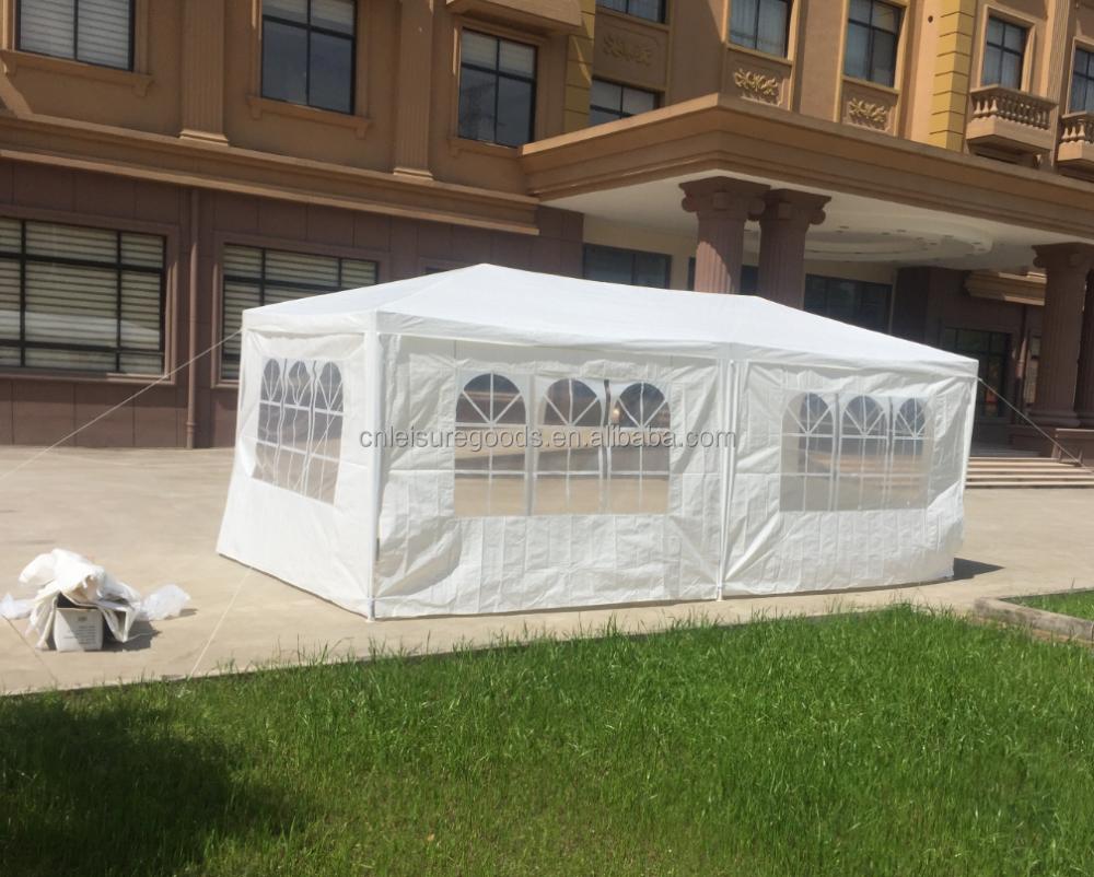 3x4M ve mor eother boyutları üç oda PE carport açık çelik çerçeve gölgelik eğlence çadırı