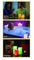 Glow Candles Flameless Color-Changing Candles 3 Battery-operated LED Pillar Candles with Remote (Real Wax)