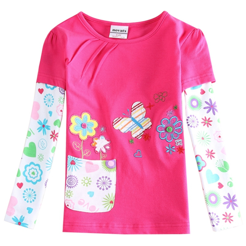 2015 new style children t shirts girls clothing flowers embroidery casual kids clothes girls t shirt spring/autumn shirts F5968