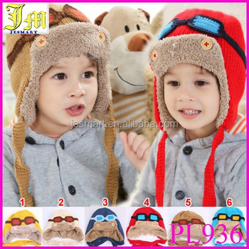 63effce235af New Cute Baby Toddler Boy Girl Kids Pilot Aviator Cap Warm Hats Earflap Beanie  Children Knitted