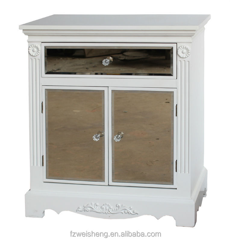 Solid White 1 Drawer 2 Doors Mirrored Cabinet Wooden Bedside Table