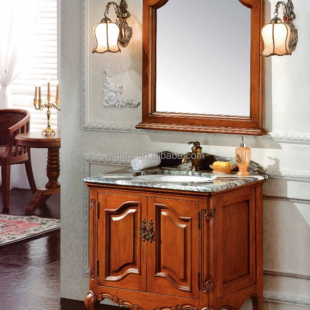 Country Style Small Custom Size Single Sink Bathroom Vanities Solid Wood Natural Stone Clearance