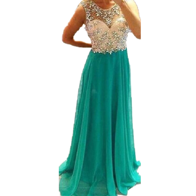 Turquoise Green Prom Dress with Crystals and Stones Open ...