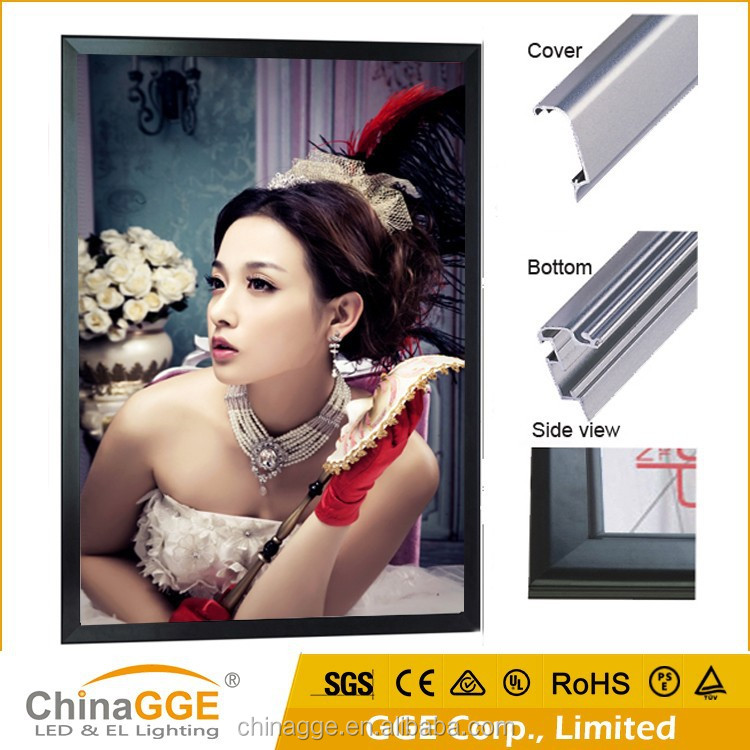 Unique design aluminum LED slim lightboxes materials led snap light box acrylic wall frame