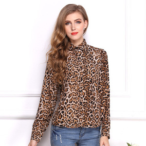 Europe station new spring and summer shirt female models wild leopard casual chiffon shirt blouse