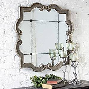 Ambient Distressed Silver With Black Undertones, Matching Rosettes And Antique Mirrors Large Antiqued Silver Mirrors