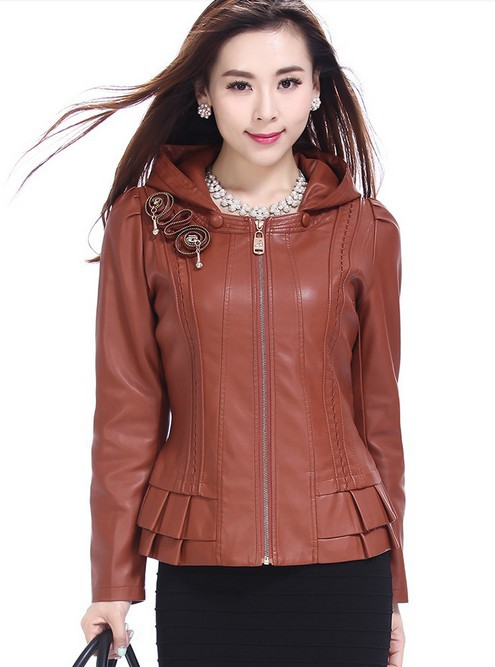 2015 autumn winter women's leather clothing jacket plus size 4XL slim leather coat women's outerwear brown female coats