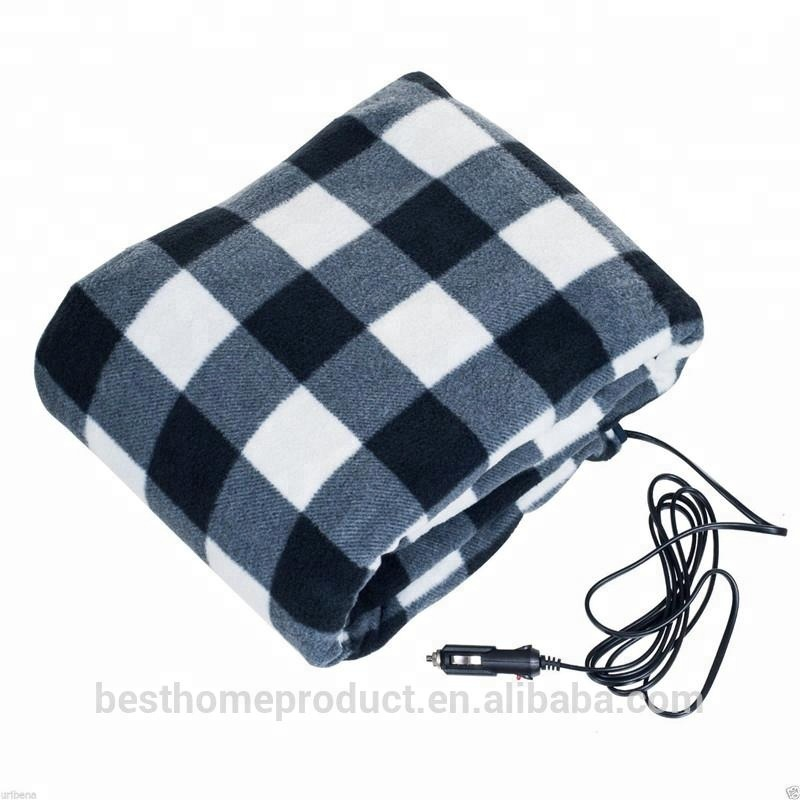 12 Volt Car Charger Electric Warming Heated Travel Blanket For Winter