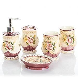 SBWYLT-European ceramic sanitary ware embossed roses five mug with teeth set five-piece bathroom set