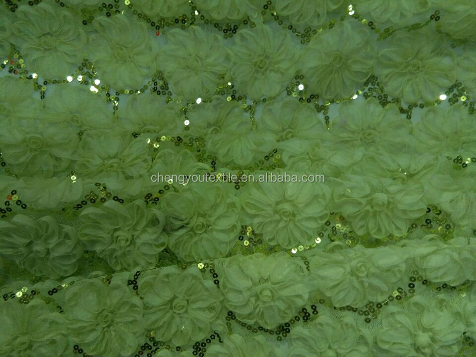 Cheap Customize Green Rose Embroidered Sequins Fabric