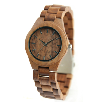 Private Label Walnut Wood Face Women Fashion Wood Watches Brand Custom
