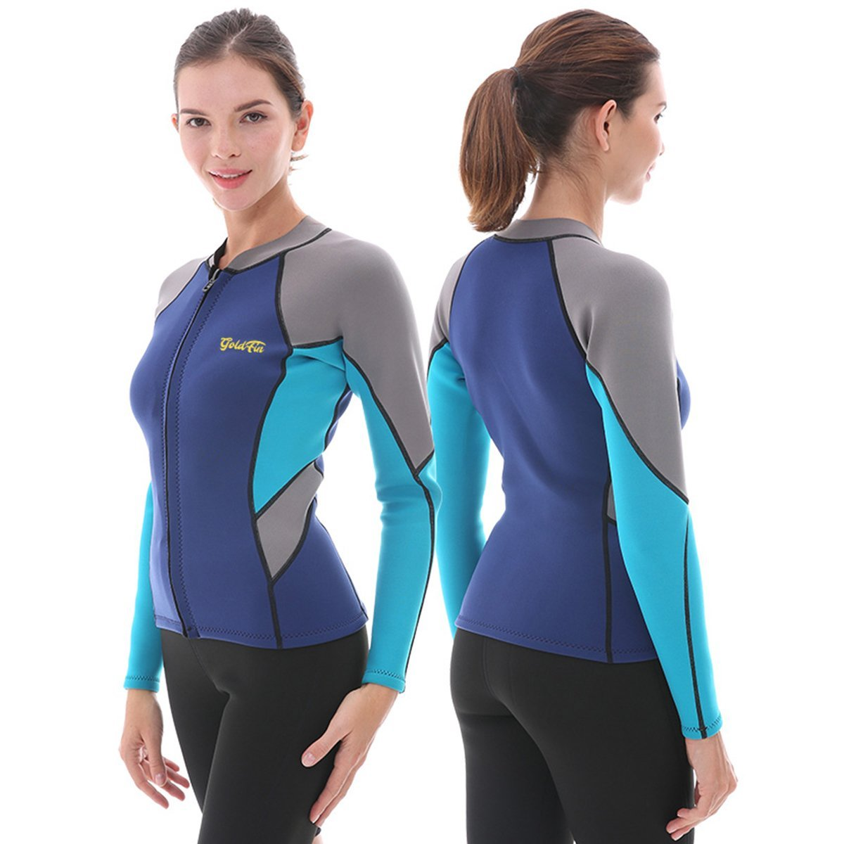 Get Quotations · Goldfin Women s Wetsuit Top 83f2ad610