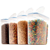 Set of 4 BPA-Free Plastic Cereal Container Dispenser Airtight Watertight Cereal Keeper Dry Food Storage Containers