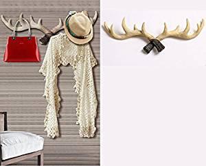 """KiaoTime 20"""" Vintage Rustic Deer Antlers Wall Hook, Coat Rack, Coat Hooks, Decorative Coat Rack, Storage Furniture Coat Wall Hook Home Hanger (Beige White)"""