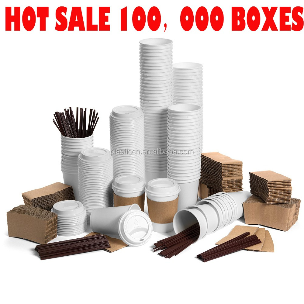 120pack Coffee Cups with Lids & Sleeves & Straws PLA Disposable Reusable Paper Cups