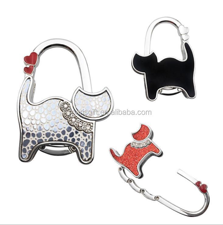 The cat bag holder hook Promotional Custom Logo Bag Holder Foldable Handbag Hook