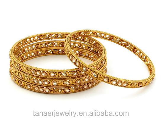 Adjule Wire Bangle Bracelet Whole 18k Gold Saudi Arabia Jewelry