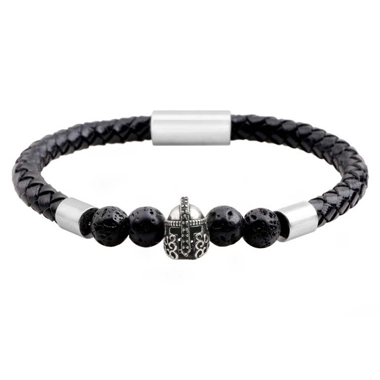 Men's Natural Stone Magnetic Clasp Leather Bracelet Pave Black CZ Warrior Helmet Charm Genuine Leather Bracelet
