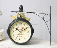 decorative home decor double sided clock hanging double side wall clocks